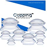 Cupping Warehouse Supreme PRO 6065 8 Cups  (4 Sizes) Professional and Home Use: Clear Chinese Silicone Massage Cupping Therapy Sets Vacuum Suction Cups