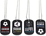 (12-Pack) Soccer Motivational Dog Tag Necklaces - Wholesale Bulk Pack of 1 Dozen Necklaces - Party Favors Sports Gifts Uniform Supplies for Soccer Players Fans Team Members