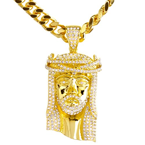 metaltree98 New Men's 14K Gold & Silver Plated Iced Out Jesus Pendant 30' Heavy Cuban Chain Necklace HC 6003 (Gold)