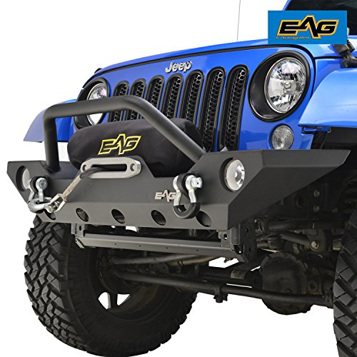 EAG 07-18 Jeep Wrangler JK Rock Crawler Off road Front Bumper with Winch Mounting Plate