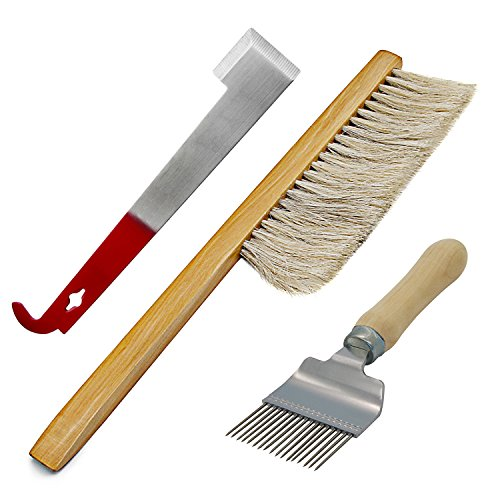 Blisstime Set of 3 Stainless Steel Hive Tool Bee Brush Comb Wax Scratcher Extracting Fork