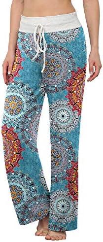 LONGYUAN Women's Comfy Pajama Pants Casual Yoga Pants Drawstring Palazzo Lounge Pants Wide Leg for All Seasons 1