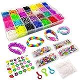 11500+ Colorful Bands Mega Refill Loom Kit - Rubber Band Bracelet Kit - 10500 Premium Crazy Loom Rubber Bands, 30 Charms, 5 Hooks, 250 Beads, 550 Clips - DIY Crafts Making Bracelets 42 Colors
