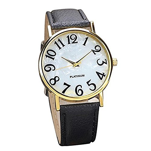 5118yAcR4uL Display:Analog. Band Material:PU Leather.Movement: Quartz. Case Size: 35.5mm x 35.5mm.Case Thickness: 7mm.Band Width: 19mm.Band Length: 22cm Fashionable design draws much attention.This is a good present for your relatives and friends.