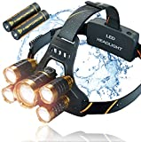 Rechargeable Headlamp Flashlight, 12000 Lumen Ultra Bright LED Work Head lamp, Brightest USB Rechargeable Headlight. Waterproof, Zoomable IPX45 HeadLamps Flashlight.Best For Camping, Outdoor, Hard Hat