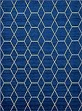 Unique Loom Trellis Frieze Collection Lattice Moroccan Geometric Modern Navy Blue Area Rug (9' x 12')