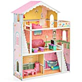 Best Choice Products 3-Story Kids Large Wooden Dollhouse Playhouse Set w/ 17 Mini Wooden Furniture - Multicolor