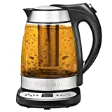 Chefman Programmable Electric Glass Kettle Fast Boiling Water Heater Removable Tea Infuser Included, Cool Touch Handle, Auto-Shutoff, Separates from Base for Cordless Pouring, BPA Free, 1.7 Liter