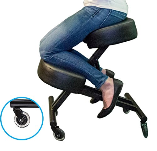 Sleekform Ergonomic Kneeling Chair M2 (Memory/Regular Foam), Adjustable Stool for Home, Office, and Meditation - Rollerblade Casters