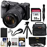 Sony Alpha A6400 4K Wi-Fi Digital Camera & 18-135mm Lens with 32GB Card + Battery + Charger + Case + Tripod + Kit