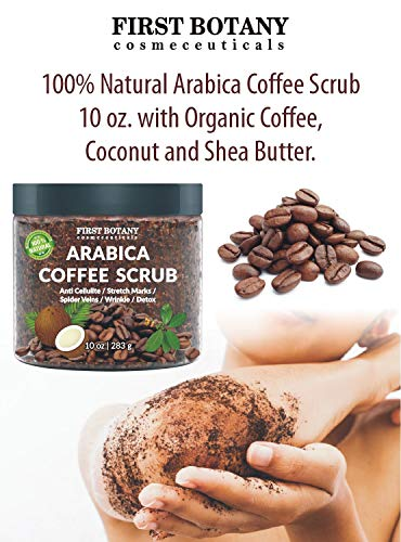 100% Natural Arabica Coffee Scrub with Organic Coffee, Coconut and Shea Butter - Best Acne, Anti Cellulite and Stretch Mark treatment, Spider Vein Therapy for Varicose Veins & Eczema 10 oz 6