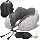 MLVOC Travel Pillow 100% Pure Memory Foam Neck Pillow, Comfortable & Breathable Cover, Machine Washable, Airplane Travel Kit with 3D Contoured Eye Masks, Earplugs, and Luxury Bag, Standard, Gray