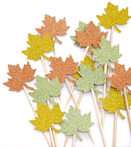 PuTwo Handmade 15 Counts Maple Leaves Birthday Party Cake Decorating Cupcake Toppers - Maple