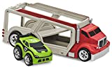 Kid Galaxy Squeezable Car Carrier Truck with Pull Back Race Car. Toddler Wind Up Vehicle Transporter Playset
