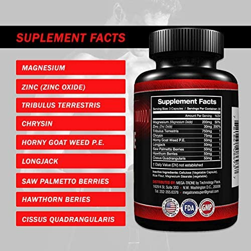 Testosterone Booster for Men with Estrogen Blocker, Tribulus Terrestris, Endurance, Strength booster, Natural stamina, Fat Burning Supplement For Healthy weight loss and build muscle fast-90 caps 6