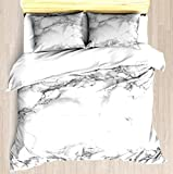SINOVAL Marble Twin/Twin XL Extra Long Size Brushed Microfiber 1 Duvet Cover 2 Pillow Shams Zipper Closure