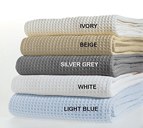TreeWool, 100% Soft Premium Cotton Thermal Blanket Lightweight Easy Care Comfortable and Warm (King Size - 90' x 108', Waffle Weave, White)