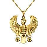 Mgutillart Plated 18K Gold Religious Stainless Steel Egyptian Horus Eagle Pendant Necklace