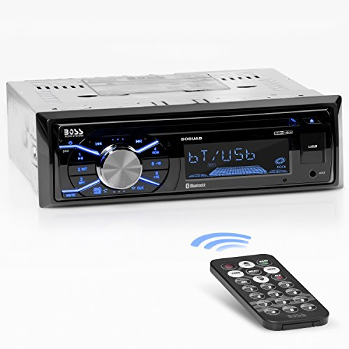 BOSS Audio 508UAB Multimedia Car Stereo – Single Din, Bluetooth Audio and Hands-Free Calling, Built-in Microphone, CD, MP3, USB, AUX Input, AM/FM Radio Receiver, LCD Display, Wireless Remote Control