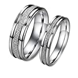 Geminis Fashion Jewelry Silver Frosted Surface Central and Grooves Stainless Steel Promise Couple Ring----Lady's Ring;Size 6