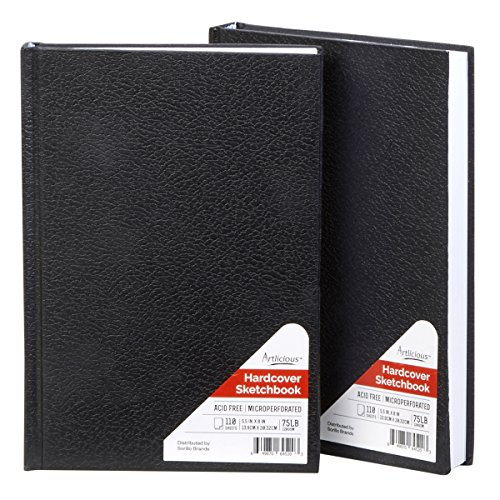 """Artlicious - 2 Hardcover Sketch Books Hardbound Value Pads - 5.5"""" X 8"""" - 440 Pages Total"""