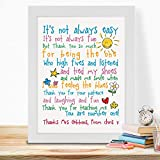 IGSUKCB Personalised Print Teachers Day Gifts for School Nursery Thank You Poem #020