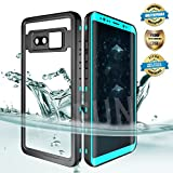 EFFUN Samsung Galaxy Note 8 Waterproof Case, IP68 Certified Waterproof Underwater Cover Dust/Snow/Shock Proof Case with Phone Stand, PH Test Paper and Floating for Strap for Samsung Note 8 Aqua Blue