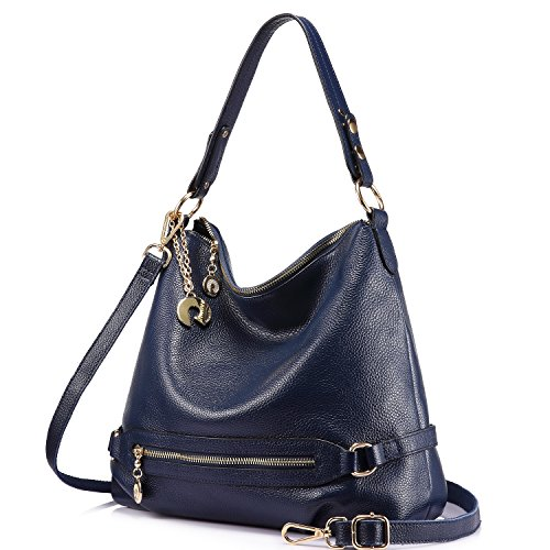 Genuine Leather Handbags for Women Large Designer Ladies Shoulder Bag Bucket Style [Navy ]