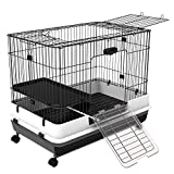 PawHut 32' Small Indoor Rabbit Cage with Wheels
