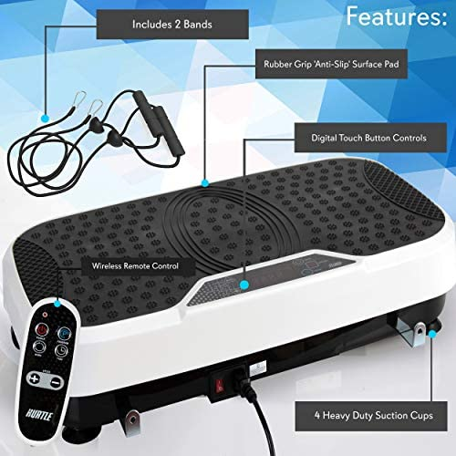 Hurtle Fitness Vibration Platform Machine - Home Gym Whole Body Shaker Exercise Machine Workout Trainer Fast Weight Loss w/Resistance Bands Easy Carry Wheel Remote Adjustable Speed 7