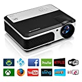 HD Projector Wireless WiFi 3900 Lumens LCD LED Display Home Theater, Smart Portable Video Projector Android HDMI USB VGA AV Zoom Build-in Speakers for TV Laptop Phone Indoor Outdoor Movie
