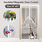 Transparent Magnetic Thermal Insulated Door Curtain Keep Draft and Kitchen Cooking Odor, Magnets Screen Door Fits Doors Up to 36'x82' for Air Conditioning Room Keeping Electric Bills