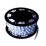 Walcut USLI1002CW Flexible 100' Crystal Clear PVC Tubing LED Rope Light Indoor/Outdoor Boat Decorative Party Christmas Holiday Business Restaurant Light Kit 110V, Cool White