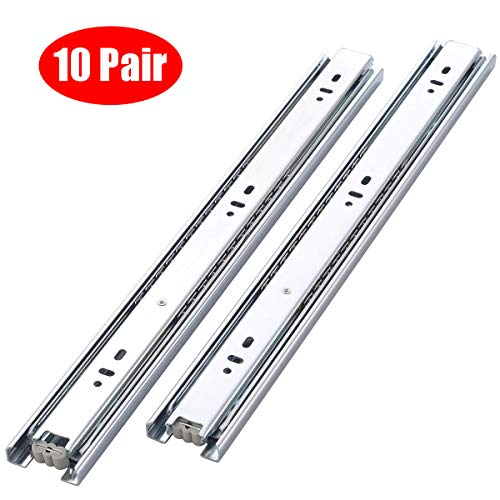 Berliget 10 Pair of 22 Inch Full Extension Hardware Ball Bearing Side Mount Stainless Steel Drawer Slides, Available in 12'' 22'' Lengths