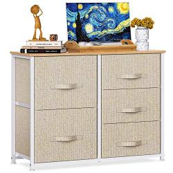 5 Drawer Fabric Storage Chest, Tall Dresser Storage Tower, Organizer Unit for Bedroom, Hallway, Entryway, Closets,Living…