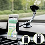 Newward Car Phone Mount, 2 Clamps Long Arm Universal Windshield Dashboard Cell Phone Holder for iPhone 11 X 8 7 Plus 6 6s Plus 5s SE,Samsung Galaxy S9 S8 S7 S6 S5 Note,Google,LG and Other Smartphones