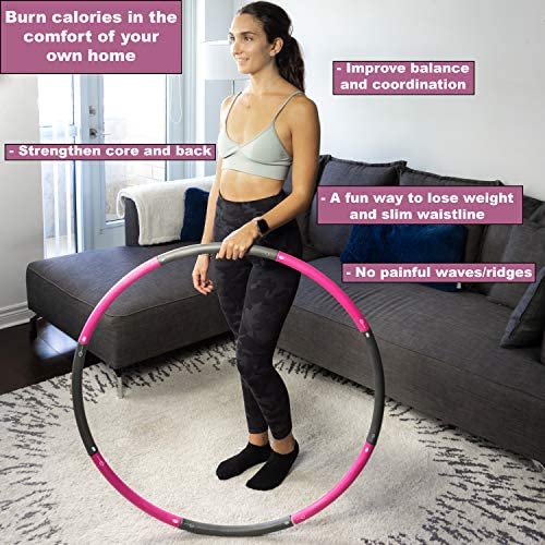 Better Sense Hoola Hoop for Adults - 8 Section Detachable Hoola Hoops, 2lb Weighted Hoola Hoop for Exercise - Portable Smooth & Soft Padding Weighted Hula Hoop with Jump Rope & Resistance Band 3