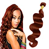 eCowboy BODY WAVE Bundle Brazilian Human Hair WAVY Extension Weft Track 100% Human Hair Convertible to Clip Extension Beautiful Vibrant Auburn #33 color - 12 Inch