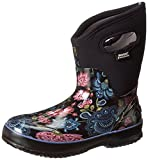 Bogs Women's Classic Mid Winter Blooms Waterproof Insulated Boot, Black Multi,6 M US