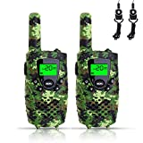 FAYOGOO Kids Walkie Talkies, 22-Channel FRS/GMRS Radio, 3-Mile Range Two Way Radios with Flashlight and LCD Screen-Best Gifts and Toys for Boys, Camo Green