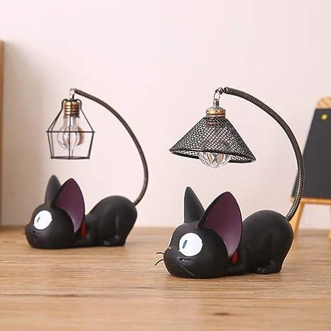 Lampada Da Tavolo Portatile Senza Fili Mini Simpatico Gatto Nero Notte Luce Illuminazione Per Bambini Lampade Da Scrivania Per La Cameretta Un Paio