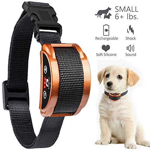 Paipaitek [Upgraded 2018 No Bark Collar - Best Rechargeable Anti-Barking Shock Control with 5 Levels Automatic Bark Collar for Small Medium Large Dogs Electronic Safe Stop Bark (6+lbs) 1