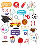 Intoy Back To School Photo Booth Props with Stationery and Sports Décor for First Day of School New Grade of Class Decorations (29 Count)