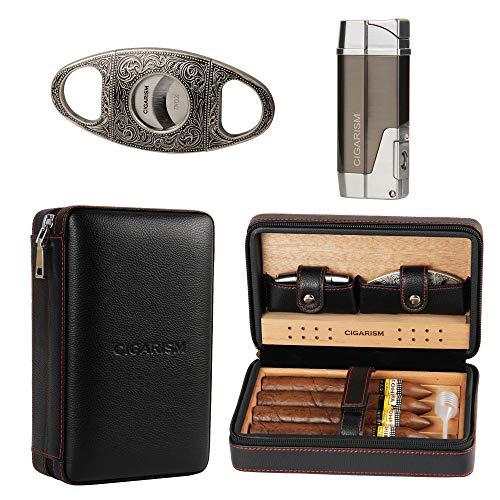 CIGARISM Cedar Lined Cigar Case Travel Humidor