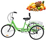 H&ZT Adult Tricycle Trike 3 Wheeled Cruiser Bike with Large Basket and Maintenance Tools, 24 Inch Wheel Size Bike Trike, Men's Women's Cruiser Bike (Apple, 7 Speed)