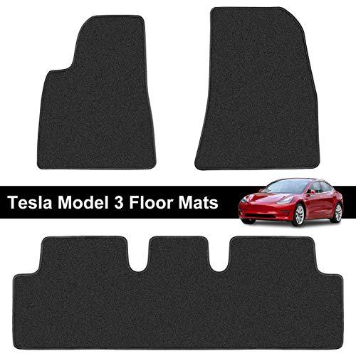 Teexpert Tesla Model 3 Floor Mats Liners Set All Weather Custom Fit Heavy Duty Floor Protection All Season 2017 2018 2019 Black