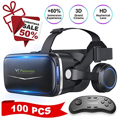 Pansonite Vr Headset with Remote Controller[Upgrade Version], 3D Glasses Virtual Reality Headset for VR Games & 3D Movies, Eye Care System for iPhone and Android Smartphones
