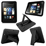 Cellularvilla Combo Case for Amazon Kindle Fire HD 7' 7 Inch 2012 Edition Hybrid Armor Kickstand Hard Soft Case Cover with Stand (Black)
