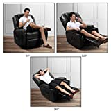 Vosson Massage Recliner Chair PU Leather Massage Chair 360 Degree Swivel Electric Recliners with 8 Massage Point&Drink Holder,Pocket,Remote(Black)