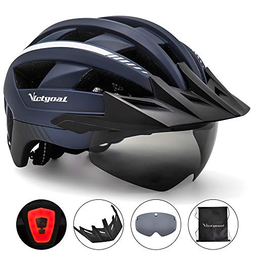 VICTGOAL Bike Helmet with USB Rechargeable Rear Light Detachable Magnetic Goggles Removable Sun Visor Mountain & Road Bicycle Helmets for Men Women Adult Cycling Helmets (Navy Blue)